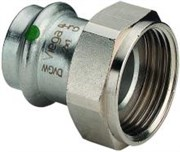 Муфта Viega пресс с накидной гайкой 18x3/4' нерж. сталь плоская прокладка Sanpress Inox SC-Contur ( 437602 )