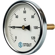 """SIM-0001-107515 STOUT Термометр биметаллический с погружной гильзой. Корпус Dn 100 мм, гильза 75 мм 1/2"""""""