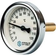"""SIM-0001-635015 STOUT Термометр биметаллический с погружной гильзой. Корпус Dn 63 мм, гильза 50 мм 1/2"""""""