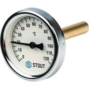 """SIM-0001-637515 STOUT Термометр биметаллический с погружной гильзой. Корпус Dn 63 мм, гильза 75 мм 1/2"""""""