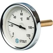 """SIM-0001-807515 STOUT Термометр биметаллический с погружной гильзой. Корпус Dn 80 мм, гильза 75 мм 1/2"""""""