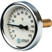 """SIM-0003-635015 STOUT Термометр биметаллический с погружной гильзой. Корпус Dn 63 мм, гильза 50 мм, резьба с самоуплотнением 1/2"""""""
