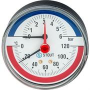 """STOUT SIM-0005-800615 STOUT Термоманометр аксиальный в комплекте с автоматическим запорным клапаном. Корпус Dn 80 мм 1/2"""""""