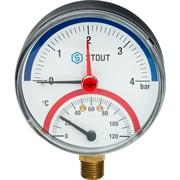 """STOUT SIM-0006-800415 STOUT Термоманометр радиальный в комплекте с автоматическим запорным клапаном. Корпус Dn 80 мм 1/2"""""""