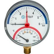 """STOUT SIM-0006-800615 STOUT Термоманометр радиальный в комплекте с автоматическим запорным клапаном. Корпус Dn 80 мм 1/2"""""""