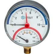"""STOUT SIM-0006-801015 STOUT Термоманометр радиальный в комплекте с автоматическим запорным клапаном. Корпус Dn 80 мм 1/2"""""""