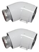 Отвод 45° для труб 60/100 мм (2шт.)