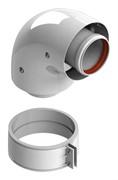 Отвод коаксиальный 90° DN60/100, п/м уплотнения и хомут в комплекте (с логотипом)