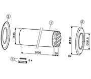 Комплект дымохода DN80 с решеткой (без подключения к котлу)
