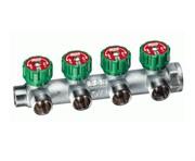 """FAR Хромированный регулирующий проходной коллектор FAR (ВР-НР) 1"""" с 4 отводами 1/2"""" под плоское уплотнение"""