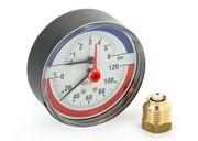 """UNI-FITT Термоманометр UNI-FITT аксиальный 6 бар, 120С, диаметр 80 мм, 1/2""""Н ( 310P2442 )"""