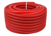 Труба гофрированная ПНД, красная, диаметр 20 мм для труб диаметром 14-18 мм