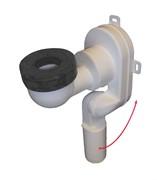 сифон для писсуаров с шарнирным подсоединением, подходящий к сливным установкам с горизонтальным и вертикальным отводом DN40 или DN50