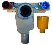 """HL134.0 с монтажной плитой HL44 с закреплёнными на ней установочными уголками 1/2""""В для подачи воды на смеситель и водопроводными пробками-заглушками HL42.B, HL42.R, Q=0,38 л/с"""