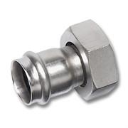"""Муфта прес-накидная гайка 15x1/2"""" плоское уплотнение, нержавеющая сталь, 9359M"""