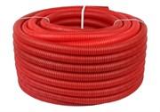 Труба гофрированная ПНД, цвет красный, наружным диаметром 25 мм для труб диаметром 16-22 мм
