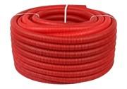 Труба гофрированная ПНД, красная, диаметр 32 мм для труб диаметром 25 мм