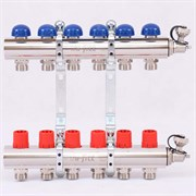 Распределительный коллектор отопления UNI-FITT 1'х3/4' 6 вых с регулировочными и термостатическими вентилями ( 32315N060506 )