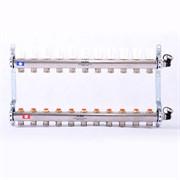 Распределительный коллектор отопления UNI-FITT 1'х3/4' 11 вых с регулировочными и термостатическими вентилями, нерж. сталь ( 32315S060511 )