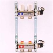 Распределительный коллектор отопления UNI-FITT 1'х3/4' 2 вых с регулировочными и термостатическими вентилями, нерж. сталь ( 32315S060502 )