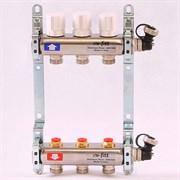 Распределительный коллектор отопления UNI-FITT 1'х3/4' 3 вых с регулировочными и термостатическими вентилями, нерж. сталь ( 32315S060503 )