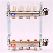 Распределительный коллектор отопления UNI-FITT 1'х3/4' 4 вых с регулировочными и термостатическими вентилями, нерж. сталь ( 32315S060504 )