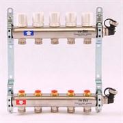 Распределительный коллектор отопления UNI-FITT 1'х3/4' 5 вых с регулировочными и термостатическими вентилями, нерж. сталь ( 32315S060505 )