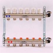 Распределительный коллектор отопления UNI-FITT 1'х3/4' 6 вых с регулировочными и термостатическими вентилями, нерж. сталь ( 32315S060506 )