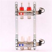 """Распределительный коллектор отопления UNI-FITT 1""""х3/4"""" 2 вых с расходомерами и термостатическими вентилями, нерж. сталь ( 32415S060502 )"""