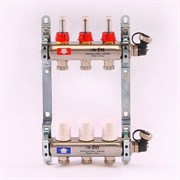 """Распределительный коллектор отопления UNI-FITT 1""""х3/4"""" 3 вых с расходомерами и термостатическими вентилями, нерж. сталь ( 32415S060503 )"""