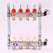 """Распределительный коллектор отопления UNI-FITT 1""""х3/4"""" 4 вых с расходомерами и термостатическими вентилями, нерж. сталь ( 450I4304 )"""