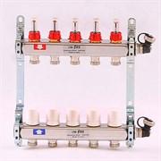 """Распределительный коллектор отопления UNI-FITT 1""""х3/4"""" 5 вых с расходомерами и термостатическими вентилями, нерж. сталь ( 32415S060505 )"""