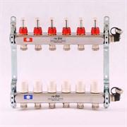 """Распределительный коллектор отопления UNI-FITT 1""""х3/4"""" 6 вых с расходомерами и термостатическими вентилями, нерж. сталь ( 32415S060506 )"""