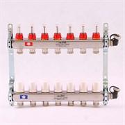 """Распределительный коллектор отопления UNI-FITT 1""""х3/4"""" 7 вых с расходомерами и термостатическими вентилями, нерж. сталь ( 450l4307 )"""