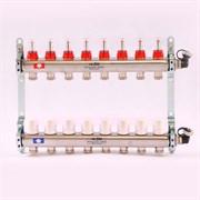 """Распределительный коллектор отопления UNI-FITT 1""""х3/4"""" 8 вых с расходомерами и термостатическими вентилями, нерж. сталь ( 450I4308 )"""