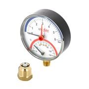 """UNI-FITT Термоманометр UNI-FITT радиальный 4 бар, 120С, диаметр 80 мм, 1/2""""Н ( 311P1442 )"""