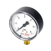 """UNI-FITT Манометр радиальный UNI-FITT 6 бар, диаметр 80 мм, 1/2""""Н ( 301P2042 )"""